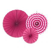 Pappersrosetter i fuchsia och rosa