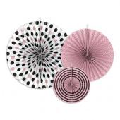 Pappersrosetter - rosa, vit och svart