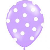 Lila ballonger med vita prickar
