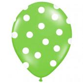Limegröna ballonger med vita prickar