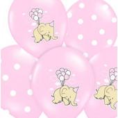 Rosa ballonger med elefant och prickar