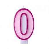 Födelsedagsljus - rosa - tal 0