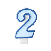 Födelsedagsljus - blått - tal 2