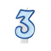 Födelsedagsljus - blått - tal 3