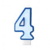 Födelsedagsljus - blått - tal 4