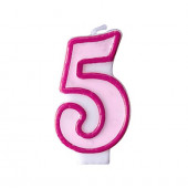 Födelsedagsljus - rosa - tal 5