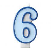 Födelsedagsljus - blått - tal 6