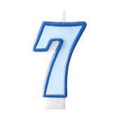 Födelsedagsljus - blått - tal 7