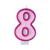Födelsedagsljus - rosa - tal 8