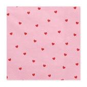 Pink servietter med røde hjerter
