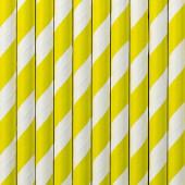 Papperssugrör - vita med gula ränder - 10 st