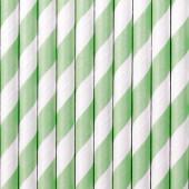 Papperssugrör - vita med mintränder - 10 st