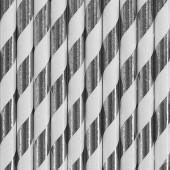 Papperssugrör - vita med silverränder - 10 st