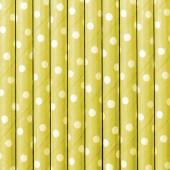 Papperssugrör - gula med vita prickar - 10 st