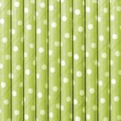 Papperssugrör - gröna med vita prickar - 10 st