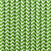 Papperssugrör - vita med grön sicksack - 10 st