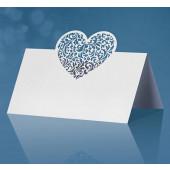 Placeringskort med hjärta - vitt