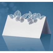 Placeringskort med fjärilar - vita