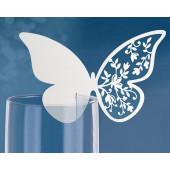 Vita fjärils-placeringskort till glas