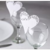 Hjerte bordkort til glas - hvid