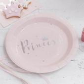 Prinsesse paptallerkner - pink og sølv