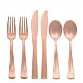Premium plastik bestik i rosa guld