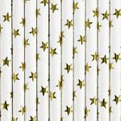 Papperssugrör - vit med guldstjärnor - 10 st