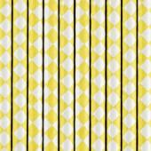 Papirsugerør gul med hvidt diamantmønster