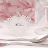 Hvide hjerte bordkort